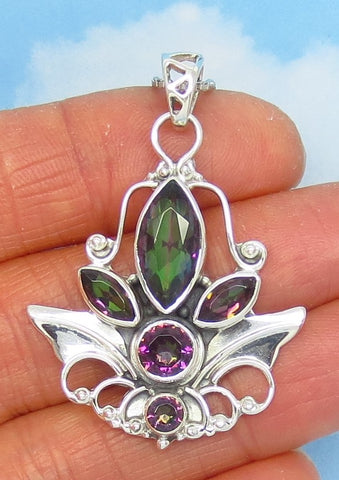 Mystic Topaz Pendant Necklace - 925 Sterling Silver - Northern Lights - Rainbow Topaz - Angel Wing - Leaf - p171653