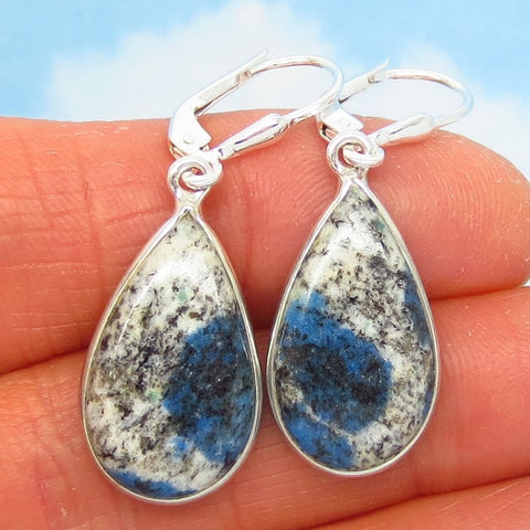 K2 Azurite Granite Earrings - 925 Sterling Silver Leverback Dangle - Pear Shape Teardrop - Genuine Natural - Rare - 281409-ps