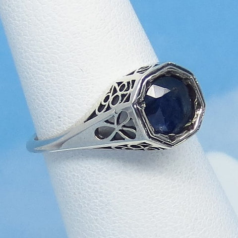 Dainty Size 6 - 1.05ct Genuine Natural Sapphire Ring - Sterling Silver - Victorian Filigree Reproduction Gothic Ring - Raw - 0015-06