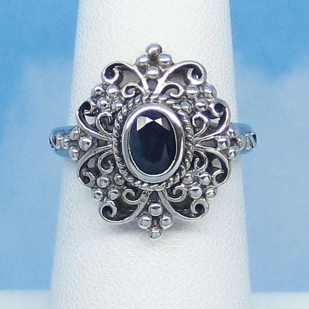Size 5-3/4 - .60ct Genuine Natural Sapphire Ring - Sterling Silver - Victorian Filigree Reproduction Ring - Blue Sapphire - Oval