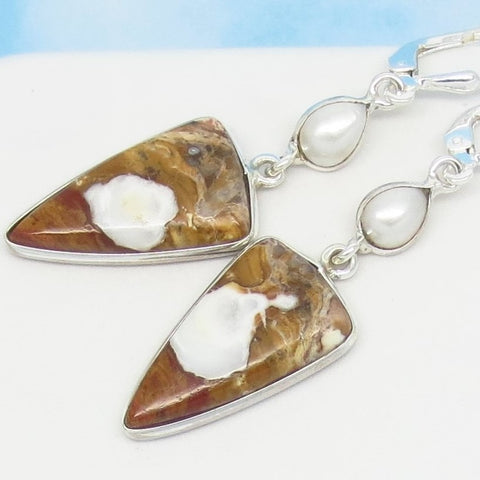 Wild Horse Magnesite Earrings Sterling Silver Leverback Dangle - Natural - White Turquoise Appaloosa Stone & Pearl - Arrowhead 241635av
