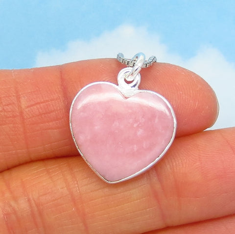 Small Rose Quartz Heart Pendant Necklace - 925 Sterling Silver - Genuine Natural - Pink Heart - p240806