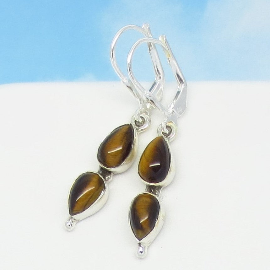 Natural Tiger Eye Earrings - Leverback Dangle - 925 Sterling Silver - Pear Shape - Teardrop - Genuine - Cat Eye - Marquise - 241335