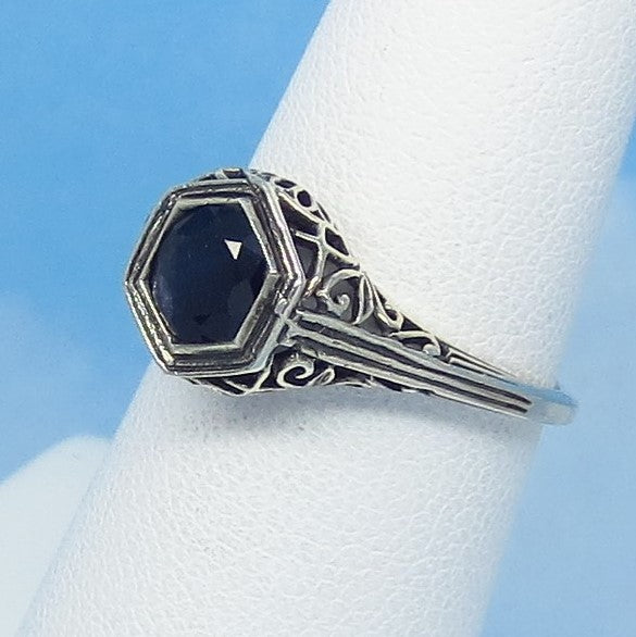 Dainty Size 5-3/4 1.05ct Genuine Natural Sapphire Ring - Sterling Silver - Victorian Filigree Reproduction Gothic Ring - Raw - 0015-06-01