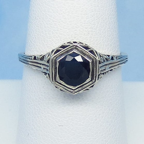 Dainty Size 8 1.05ct Genuine Natural Sapphire Ring - Sterling Silver - Victorian Filigree Reproduction Gothic Ring - Raw - 0015-08