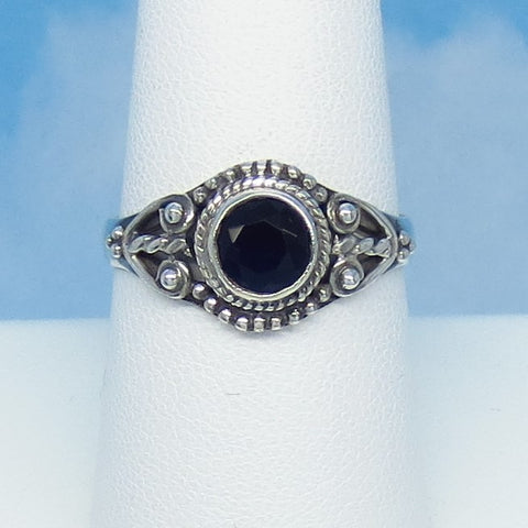 Size 8-1/2 - 1.05ct Natural Sapphire Ring - Sterling Silver - Victorian Filigree Bali Boho Gothic Ring - Genuine - 6mm Round Blue - 0012-08