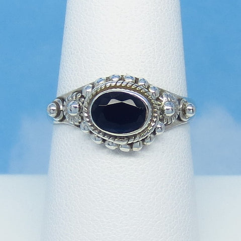 Size 8 - 1.0ct Natural Sapphire Ring - Sterling Silver - Victorian Filigree - East-West Horizon - Genuine - 7 x 5mm Oval Blue - Bali Boho