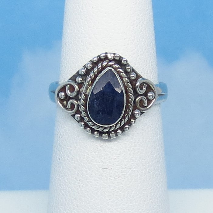 Size 5-1/2 - 1.05ct Natural Sapphire Ring - Sterling Silver - Victorian Filigree - Genuine Raw Sapphire - 8 x 5mm Pear - Blue - Bali Boho