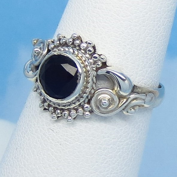 Size 6-1/4 - 1.05ct Natural Sapphire Ring - Sterling Silver - Victorian Filigree Bali Boho Gothic Ring - Genuine - 6mm Round Blue - 0012-064