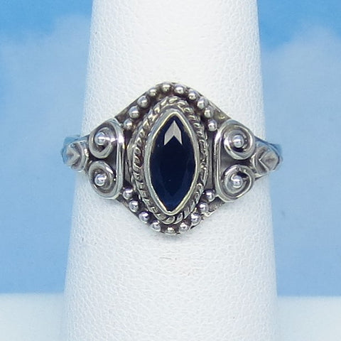 Dainty Size 6 - .75ct Natural Sapphire Ring - Sterling Silver - Victorian Filigree Bali Boho Gothic Ring - Genuine - 8x4mm Marquise Blue