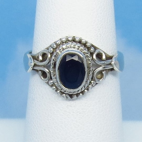 Size 6-1/4 - 1.0ct Natural Sapphire Ring - Sterling Silver - Victorian Filigree Bali Boho Gothic Ring - Genuine - 7x5mm Oval Blue - 0012-9