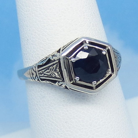 Size 6-3/4 1.05ct Genuine Natural Sapphire Ring - Sterling Silver - Victorian Filigree Art Deco Reproduction Gothic Ring - Raw