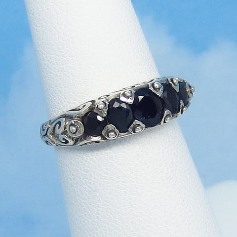 Size 5-3/4 - Genuine Natural Sapphire Ring - 5 Stone Band - Sterling Silver - Victorian Filigree Reproduction - Blue Sapphire Oval - 151553