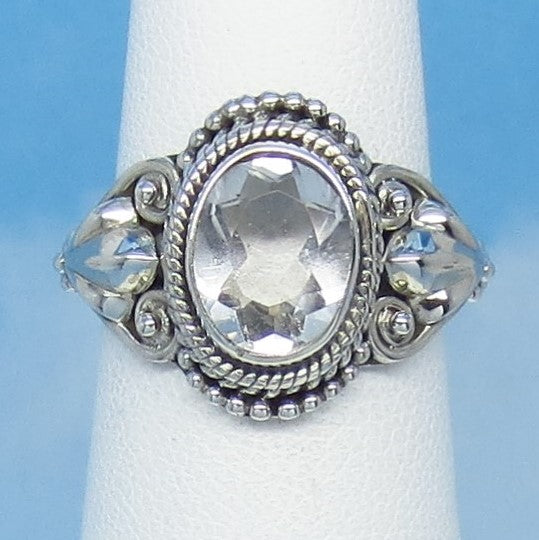 Size 6-1/4 - 3.5ct Natural White Topaz Ring - Sterling Silver - Victorian Design - Filigree Bali Boho - 10 x 8mm Oval - sa161503