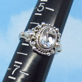 Size 6 - 1.6ct Natural White Topaz Ring - Sterling Silver - Victorian Design - Filigree Bali Boho - 8 x 6mm Oval - sa171101
