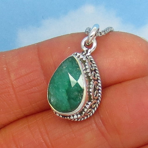 3.21ct Natural Emerald Pendant Necklace Pear 925 Sterling Silver Victorian Filigree Bali Boho Design - Genuine Raw India Emerald - em180857