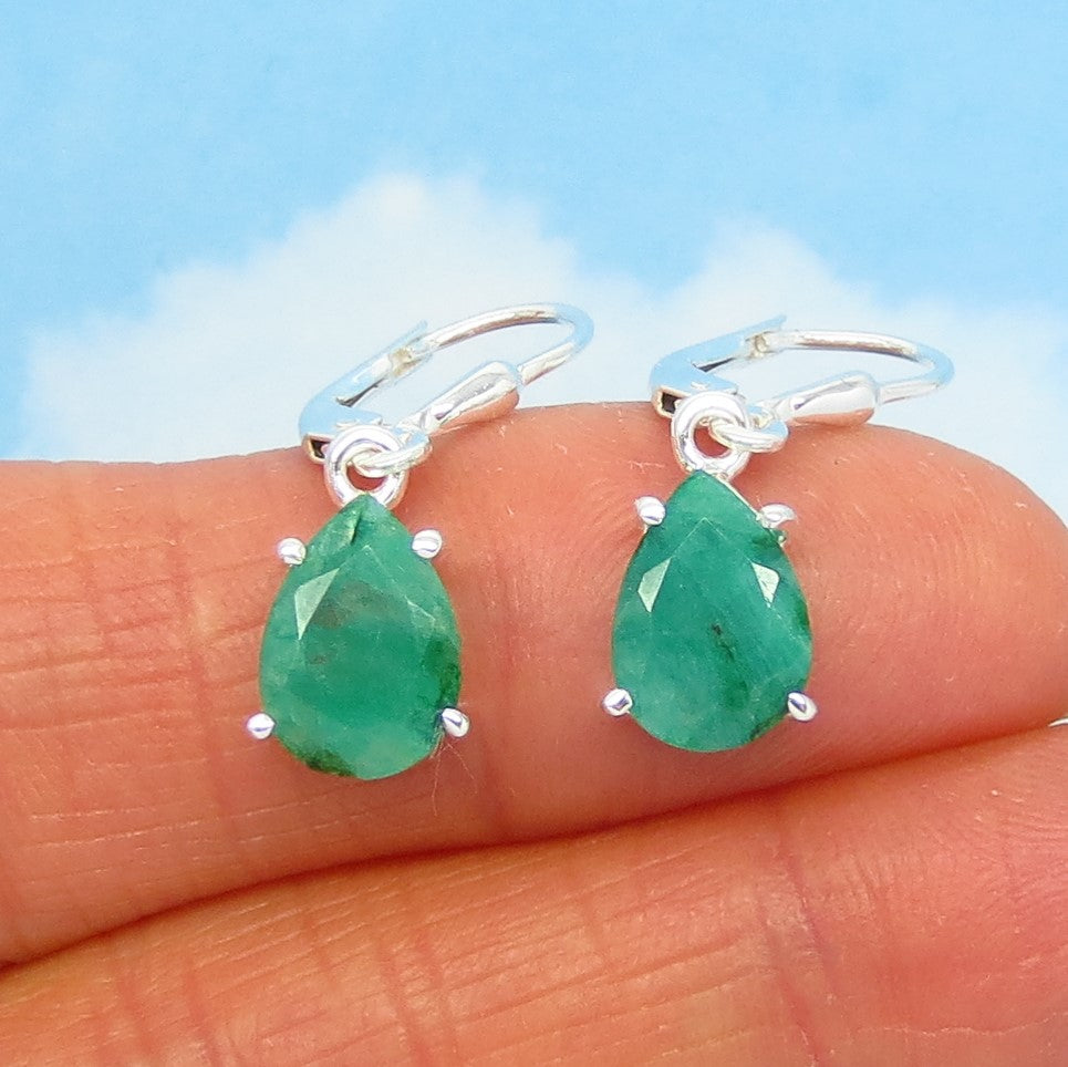 5.2ctw Natural Emerald Earrings - 925 Sterling Silver - Leverback Dangles - 10 x 7mm Pear Shape Teardrop - Raw Genuine Emerald - 241879