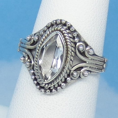 Size 5-3/4 - 1.2ct Natural White Topaz Ring - Sterling Silver - Victorian Design - Filigree Bali Boho - 10 x 5mm Marquise - sa171206