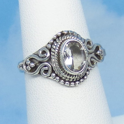 Size 6 - 1.1ct Natural White Topaz Ring - Sterling Silver - Victorian Design - Filigree Bali Boho - 7 x 5mm Oval - sa161106