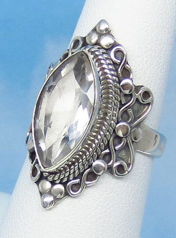 Size 6-1/2 - 3.3ct Natural White Topaz Ring - Sterling Silver - Victorian Design - Filigree Bali Boho - 16 x 8mm Marquise - sa171516