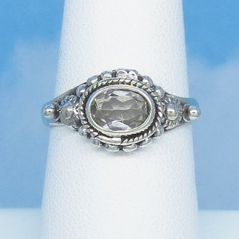 Size 7 - 1.1ct Natural White Topaz Ring - Sterling Silver - Victorian Design Filigree Bali Boho - 7 x 5mm Oval - East West Horizon sa161107