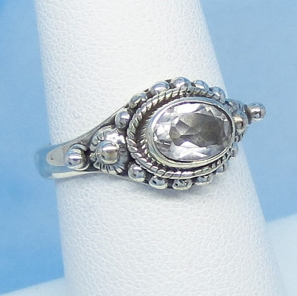 Size 6-3/4 - 1.1ct Natural White Topaz Ring Sterling Silver - Victorian Design Filigree Bali Boho - 7 x 5mm Oval - East West Horizon s161106