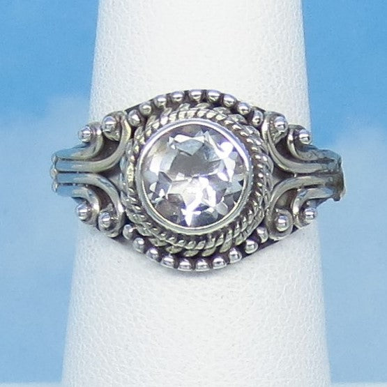 Size 6 Natural White Topaz Ring - Sterling Silver - 1.25ct - 7mm Round - Victorian Filigree Bali Design - Genuine White Topaz - sa181206-rd
