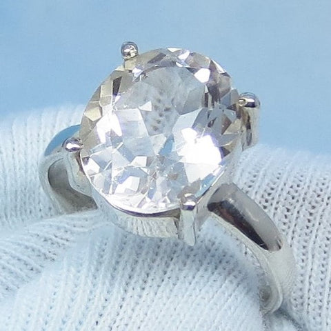 Size 7-3/4+ - 5.53ct Natural White Topaz Ring - Sterling Silver - 13 x 10mm Oval - Genuine White Topaz - Simple - Large - Minimalist