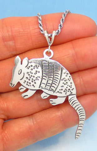 925 Sterling Silver Armadillo Pendant Necklace - Rope Chain - Large Armadillo - Artisan - Taxco Mexico