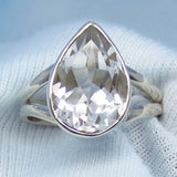 Size 8 - 5.88ct Natural White Topaz Ring - Sterling Silver - 14 x 10mm Pear - Genuine White Topaz - Simple - Large - Minimalist