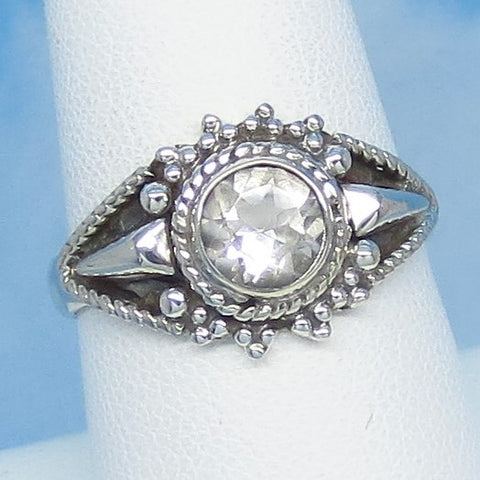 Size 8-1/4 - 1.0ct Natural White Topaz Ring Sterling Silver 6mm Round - Victorian Filigree Bali Boho Sun Design - Genuine White Topaz