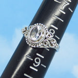 Dainty Size 8-1/4 - 1.1ct Natural White Topaz Ring - Sterling Silver - Victorian Design - Filigree Bali Boho - 7 x 5mm Oval - sa161108