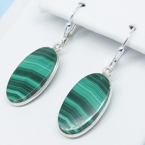"1-9/16"" Natural Malachite Earrings - Leverback Dangle - 925 Sterling Silver - 22 x 11mm Oval - Genuine - 251536"