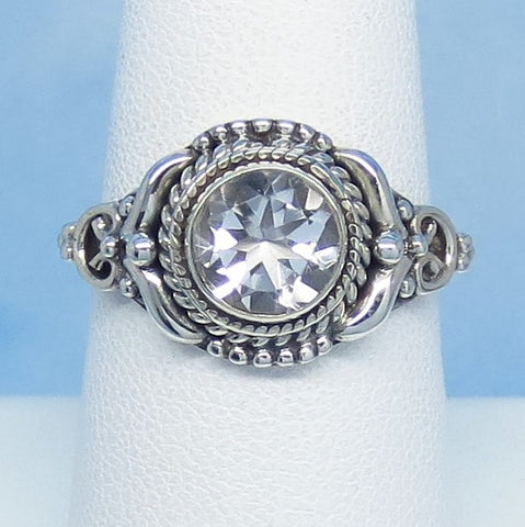 Size 7-3/4 Natural White Topaz Ring - Sterling Silver - 1.25ct - 7mm Round - Victorian Filigree Design - Bali Boho Design Genuine - sa181208