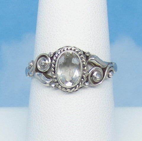 Dainty Size 7-3/4 - 1.1ct Natural White Topaz Ring - Sterling Silver - Victorian Design - Filigree Bali Boho - 7 x 5mm Oval - sa161107