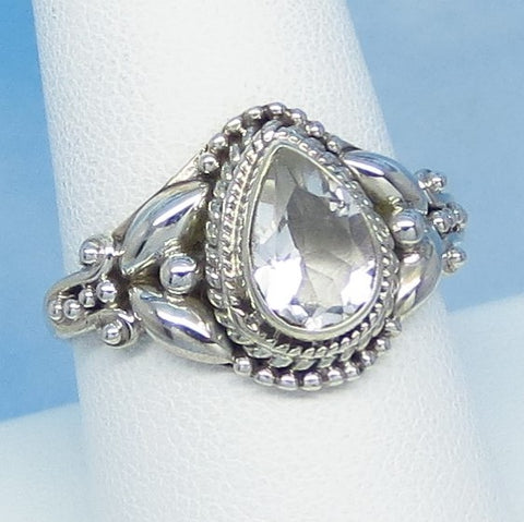 Size 9 Natural White Topaz Ring - Sterling Silver - 1.5ct - 9 x 6mm Pear - Victorian Filigree Bali Design - Genuine White Topaz - sa161109