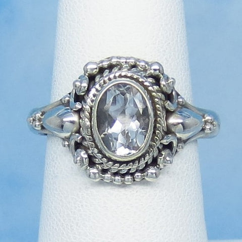 Size 9-1/4 - 1.6ct Natural White Topaz Ring - Sterling Silver - Victorian Filigree Bali Boho Design - 8 x 6mm Oval - Genuine - sa171109