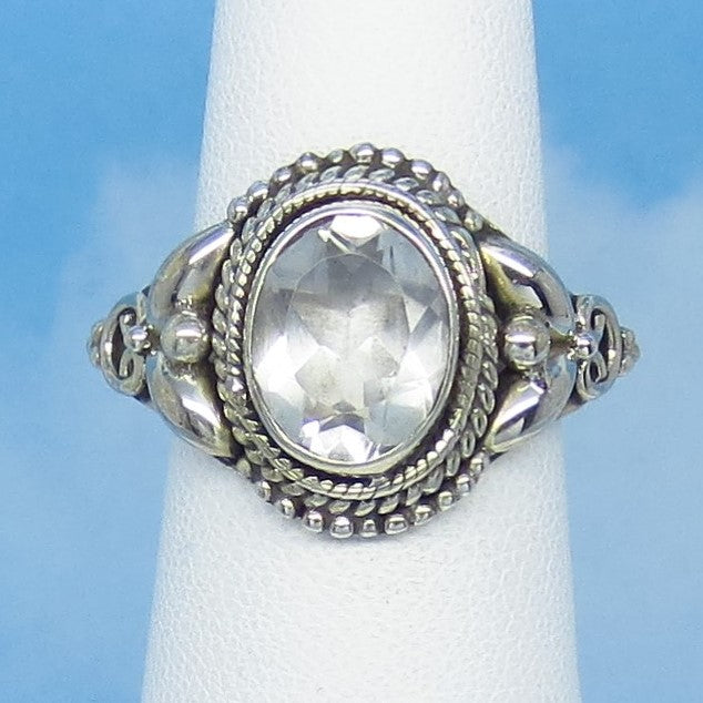 Size 9-1/2 - 3.5ct Natural White Topaz Ring - Sterling Silver - Victorian Design - Filigree Bali Boho - 10 x 8mm Oval - sa161406