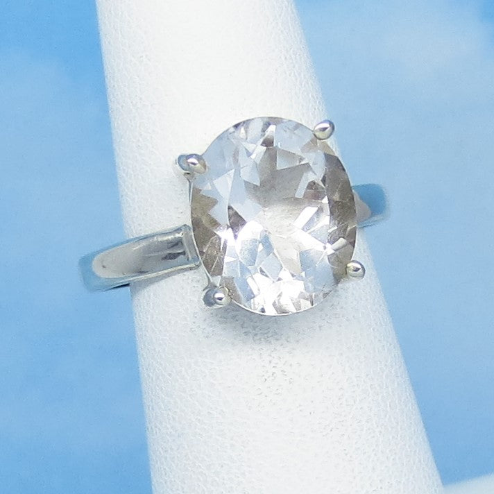 Size 9 - 5.96ct Natural White Topaz Ring - Sterling Silver - 12 x 10mm Oval - Genuine White Topaz - Simple - Large - Minimalis