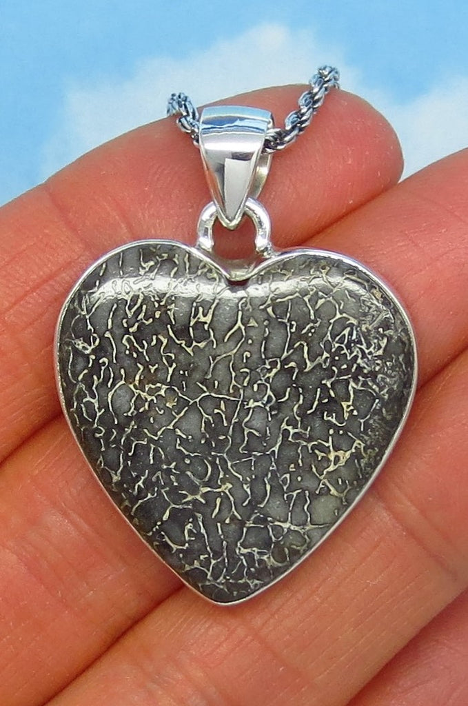Dinosaur Bone Fossil Heart Pendant Necklace - Sterling Silver - Genuine - Natural Fossil - jy182808