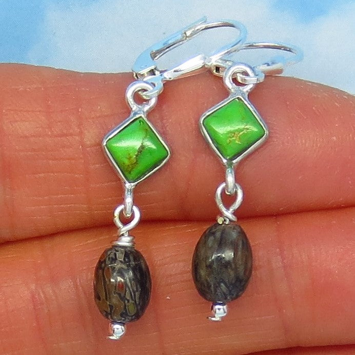 Small Agatized Dinosaur Bone Fossil & Mojave Green Turquoise Earrings - Sterling Silver - Leverback - Dangle - Genuine - Natural - Dainty