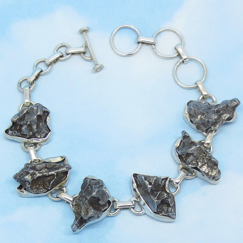 "Meteorite Bracelet - Campo del Cielo - Argentina - 925 Sterling Silver - Genuine - Natural - 8"" - Adjustable Shorter - Celestial - 154401"