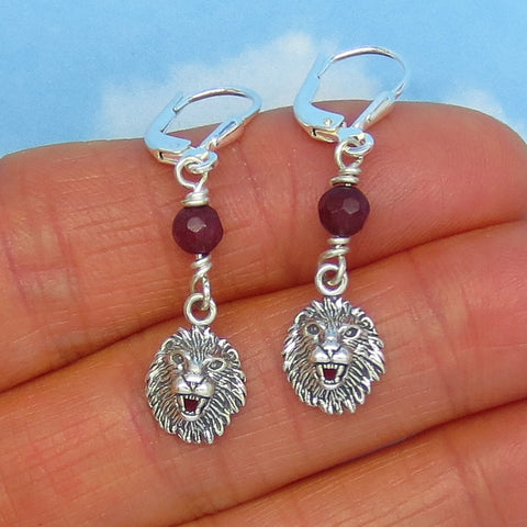 "Tiny Natural Ruby Lion Earrings - Leverback - Sterling Silver - Dainty 1-1/2"" Long Dangles - Genuine Ruby - Leo Lion Head Lion Face 161135"