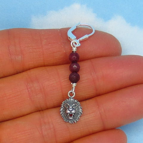 "Natural Ruby Lion Single Earring - Leverback - Sterling Silver - 1-7/8"" Long 47mm - Genuine Raw Ruby - Lion Head Lion Face Leo Zodiac"
