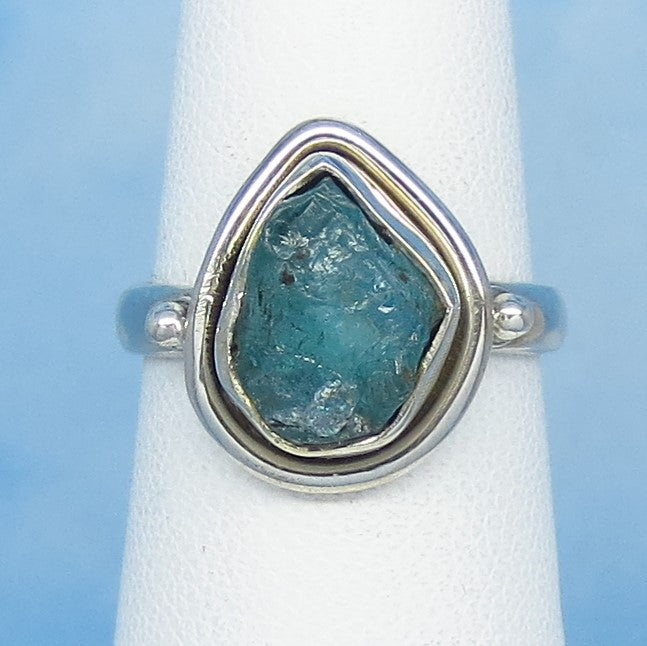 Size 6 Natural Raw Aquamarine Ring - Sterling Silver - Pear - Teardrop - Genuine Aquamarine - Rough Aquamarine - March Birthstone - jy161806