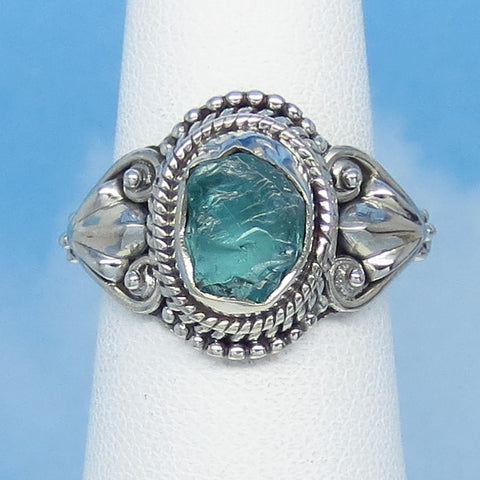 Size 6-1/2 Natural Raw Aquamarine Ring - Sterling Silver - Victorian Filigree Design - Genuine Rough Aquamarine Bali Boho jy18161403