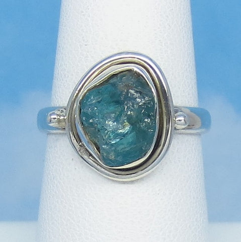 Size 7 Natural Raw Aquamarine Ring - Sterling Silver - Oval ish - Genuine Aquamarine - Rough Aquamarine - March Birthstone - jy161527