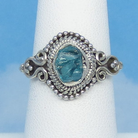 Size 7 Natural Raw Aquamarine Ring - Sterling Silver - Victorian Filigree Design - Genuine Rough Aquamarine - Bali Boho - jy161529