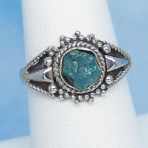 Size 7-1/4 Natural Raw Aquamarine Ring Sterling Silver Victorian Filigree Design - Genuine Rough Aquamarine - Bali Boho Sun Design jy161527