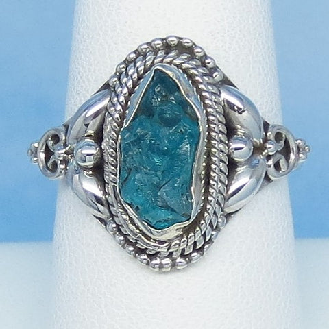 Size 8-1/2 Natural Raw Aquamarine Ring - Sterling Silver - Victorian Filigree Design - Genuine Rough Aquamarine Bali Boho jy161502